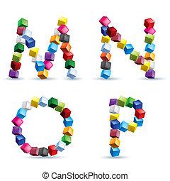 4, 手紙, 作られた, ブロック, 有色人種