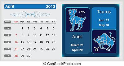 4 月, カレンダー, 黄道帯, 2013