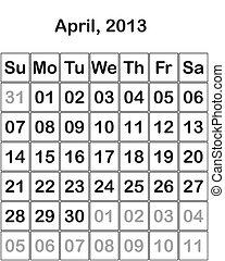 4 月, カレンダー, 2013, 月