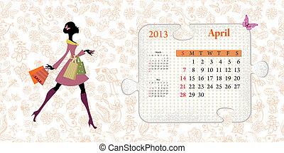 4 月, カレンダー, 2013