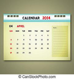 4 月, カレンダー, monthly., スケジュール