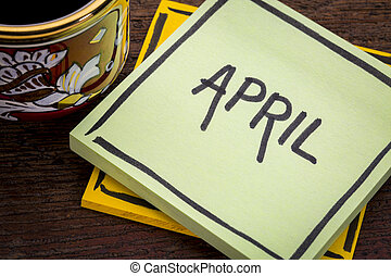 4 月, テキスト, メモ, コーヒー