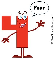 4, 特徴, 数, 挨拶, 振ること, マスコット, 漫画, 赤, 幸せ