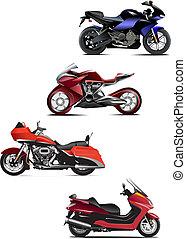 4, 現代, motorcycle., ベクトル, イラスト