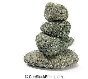 4, 石, バランスをとる, 積み重ねられた