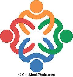 4, 織り交ぜられる, チームワーク, 人々
