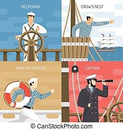 4, 船, 图标, 概念, 机组