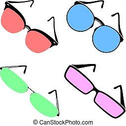 4, 色, メガネ, セット, コレクション