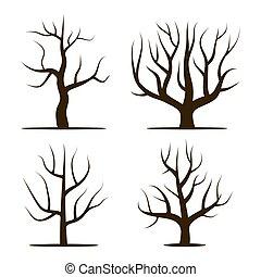 4, 葉, なしで, 木