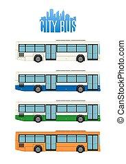 4, 都市, セット, icons., バス