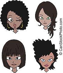 4, 黒, 女性