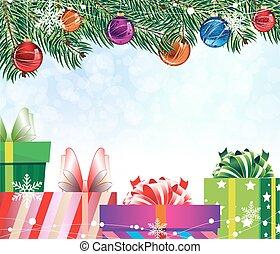 4, 상자, 다채로운, 선물