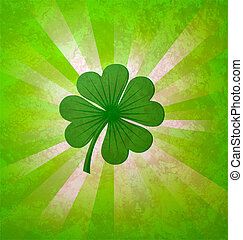4, 잎, 운, 클로버, 녹색
