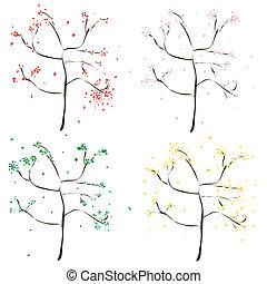 4, 착색되는, 나무, -, 녹색, 황색, 빨강, pink.