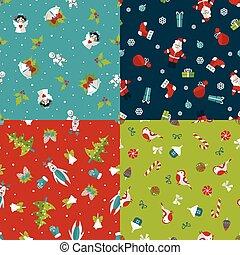 4, 패턴, 세트, seamless, 크리스마스