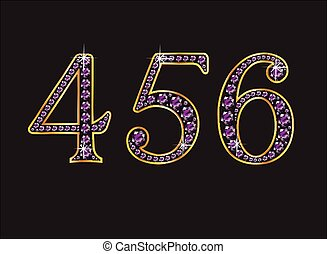 4, 5 and 6 Amethyst Jeweled Font