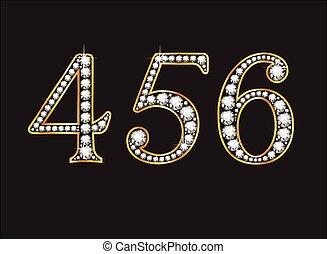 4, 5 and 6 Diamond Jeweled Font