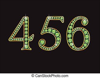 4 5 and 6 in Peridot Jeweled Font