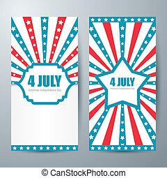 4, 7月, カード, テンプレート