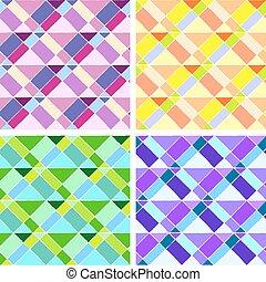 4 abstract geometric triangle seamless pattern