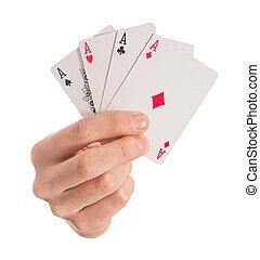4, aces, крупный план, держа, рука