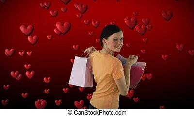 4, achats femme, heureux