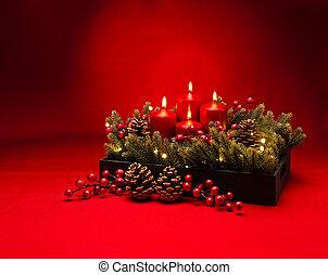4, advent, rood, kaarsje, bloem schikking