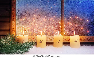 4, advent, venster, decoraties