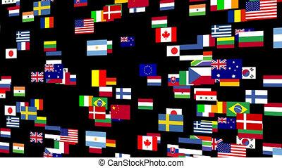 4, animé, drapeaux, mondiale