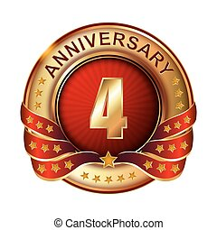 4 Anniversary golden label with ribbon.