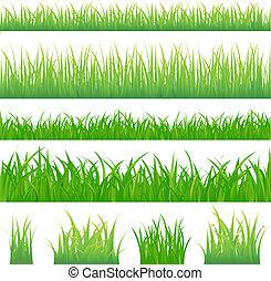 4, arrière-plans, de, herbe verte, et, 4, touffes, de, herbe