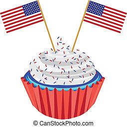 4 av juli, cupcake, med, flagga, illustration