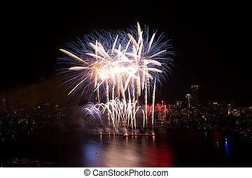 4 av juli, fireworks, in, boston