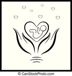 4, baby, skydd, nyfödd