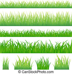 4 backgrounds of green grass and 4 tufts of grass, Isolated...