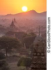 4, bagan, pagode, héritage, mondiale, paysage, myanmar.