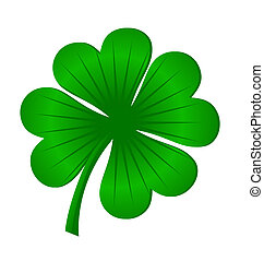 4, blätter, glück, kleeblat, grün, freigestellt, weiß,...