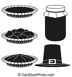 4 black and white fall harvest silhouette elements