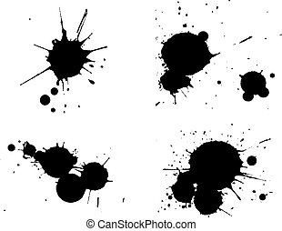 4 Black Splats - Background is transparent so they can be overlayed on other Issustrations or Images.