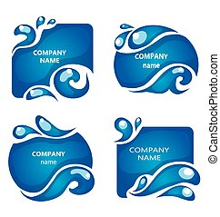 4 blue water labels,circle and square frames with drops -...