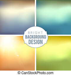 4 Blur Background Set. Sepia blurred backgrounds. Vector Illustration.