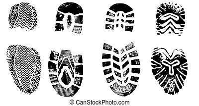 4 Isolated Boot Prints - Highly detailed vector of walking shoes