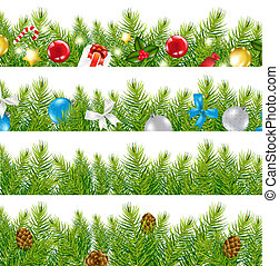 4 Border With Christmas Tree Set, Isolated On White Background, Vector Illustration
