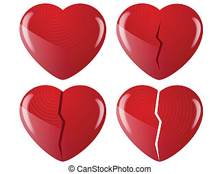broken hearts - 4 broken hearts on white background