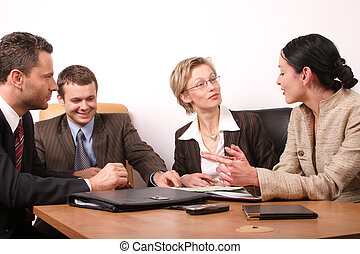 4 business people - Group of people negotiate at the desk