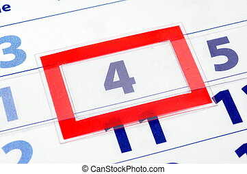 4 calendar day - calendar showing date of today with red box...