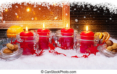 4 candles and Snow Stars for Advent