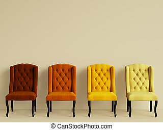 4 chairs in different colors in yellow room with copy space