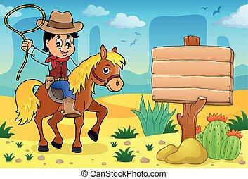 4, cheval, thème, image, cow-boy