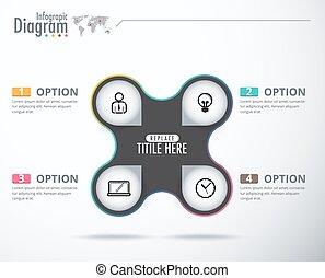 4 Choice label infographic design. Business present diagram. vector illustration.